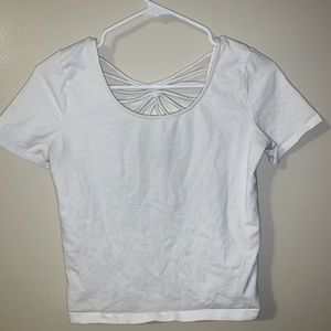 forever 21 white crop tee crossback